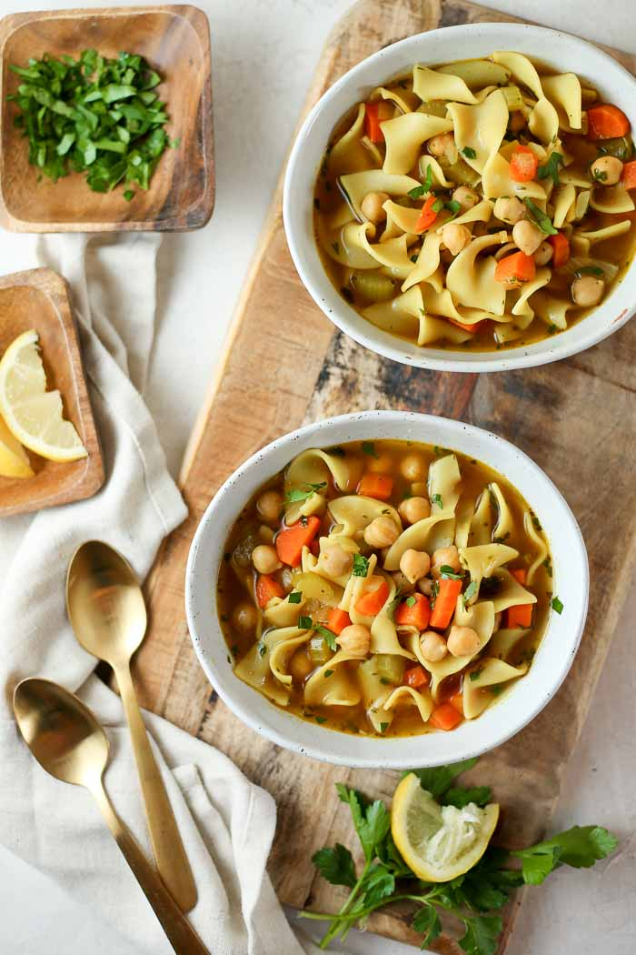 The perfect combo of simple + comfort + flavor, this Chickpea Noodle Soup is a wholesome cold-and-flu-fighting champ. Though we love it enough to make it when we're feeling just fine, too!
