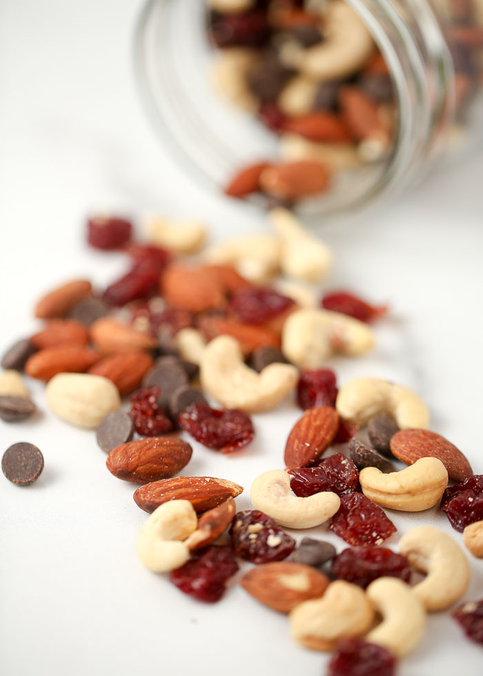 Dark Chocolate Cherry Trail Mix - Pour all ingredients into a medium bowl and stir together to mix. Store at room temperature in a sealed 32-ounce mason jar and enjoy whenever you need a quick and satisfying snack!